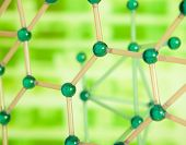 stock photo of chemical reaction  - Green Molecular structure - JPG