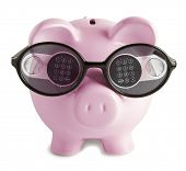 Pink piggy bank with.  Digital lock in  glasses