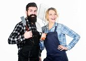 Picnic And Barbecue. Man Bearded Guy And Girl Ready For Barbecue White Background. Backyard Barbecue poster