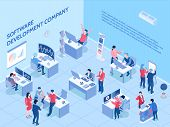 Programmers Of Software Development Company During Work In Office Isometric Horizontal Vector Illust poster
