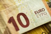 Closeup 10 Euro Money Banknotes, Euro Currency, Macro Details of  Ten Euro Banknote, Cash, Bill Conc poster