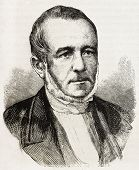 Paul Boudet old engraved portrait (French Minister of the Interior). Created by Chenu, published on