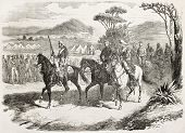 French intervention in Mexico: General Mendoza driving blindfolded negotiator. Created by Janet-Lange after Pierson, published on L'Illustration, Journal Universel, Paris, 1863