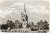 Albert memorial old view, London. Created by Blanchard, published on L'Illustration, Journal Univers