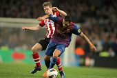 BARCELONA - MARCH, 31: Iker Muniain(L) of Athletic Bilbao vies with Adriano Correia(R) of Barcelona