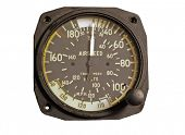 Antique airspeed indicator isolated over white