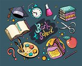 Great Vector Set Back To School. Colorful Vector Hand Drawn Doodle Cartoon Set Of Themed Elements, O poster