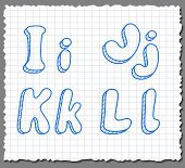 pic of alphabet letters  - Vector sketch 3d alphabet letters on paper background  - JPG