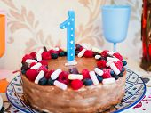 Happy Birthday.holiday Cake With Candles.birthday Greetings.greeting Card.celebrate Birthday Party W poster