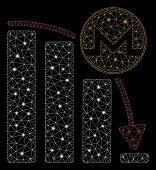 Flare Mesh Monero Panic Fall Chart With Glare Effect. Abstract Illuminated Model Of Monero Panic Fal poster