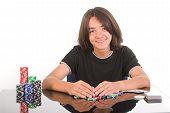 Beautiful Happy Boy Winning Poker