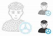 Mesh Taxi Driver Model With Triangle Mosaic Icon. Wire Carcass Triangular Mesh Of Taxi Driver. Vecto poster