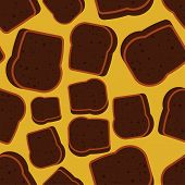 Burnt Bread Pattern Seamless. Spoiled Toasted Toast Background. Food Vector Texture poster