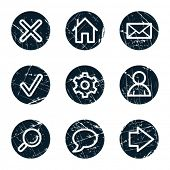 Basic web icons, grunge circle buttons