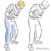 stock photo of sick kidney  - An image of a man with kidney stones having stomach pains - JPG