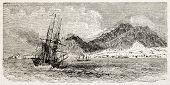 Aden old view from the sea. Created by Blanchard, published on L'Illustration, Journal Universel, Pa