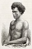Peruvian man old engraved portrait. After photo of Maumoury, published on L'Illustration, Journal Universel, Paris, 1863
