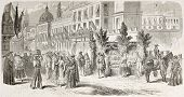Rue de Los Plateros in Mexico city, while French troops are entering in town. Created by Janet-Lange,  published on L'Illustration, Journal Universel, Paris, 1863