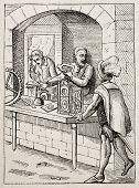 16th century watchmakers old illustration. After Amman, published on Magasin Pittoresque, Paris, 188