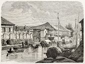 Channel in Binondo old view, Manila. Created by De Montaland, published on L'Illustration, Journal Universel, Paris, 1863