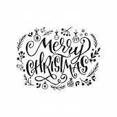 Amazing Lettering Greeting Text Merry Christmas With Sketched Tree Decorations And Branches With Lea poster