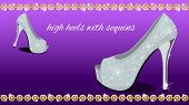 High Heels With Sequins And Gold Chains. Pair High-heeled Shoes On The Purple Background. Realistic  poster