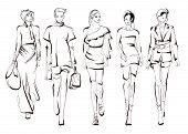 Beautiful Young Womens. Hand Drawn Fashion Girls. Fashion Model Posing. Sketch. Vector Illustration poster