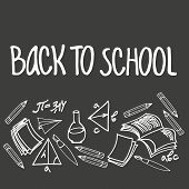 Back To School Vector Background, With Hand-lettered Inscription And Hand Drawn School Items, Mathem poster