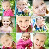 set of different photos of smiling little girl