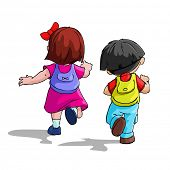 illustration of kids going to school with bag pack