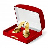 Gold woman shoes in the red present box. Rasterized version
