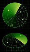Radar screen target detection. Rasterized version