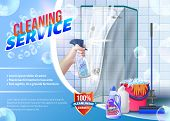 Hand With Spray Glass In Hand On Background Shower. Detergent For Home. Cleaning Service. Cleaning A poster