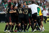 PASADENA, CA. - MAY 25: Mexico celebrates their win over the United States at the 2011 CONCACAF Gold Cup championship game on May 25, 2011 at a sold out Rose Bowl in Pasadena, CA.