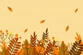 Autumn Background With Dry Leaf Decoration, Autumn Theme Vector Illustration Design Template. Autumn poster