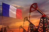France Oil Industry Concept, Industrial Illustration. France Flag And Oil Wells And The Red And Blue poster