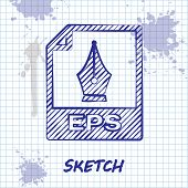 Sketch Line Eps File Document. Download Eps Button Icon Isolated On White Background. Eps File Symbo poster