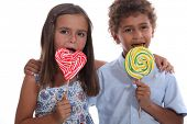Children with lollipops