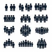 People Group Icon. Business Person, Team Management And Socializing Persons Silhouette Icons. Leader poster