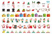 Cartoon Christmas Collection. Xmas Hats And New Year Gifts. Santa Claus And Elves Helpers Characters poster