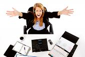 stressed business woman is overwhelmed by the workload and gives up