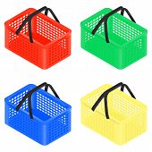 Set Of Four Isometric Plastic Multi-colored Shopping Baskets. Isometric Plastic Basket Icon For Web  poster