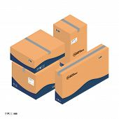 Four Carton Isometric Parcel Boxes For Express Delivery Service. Isometric Parcel Boxes Sealed With  poster