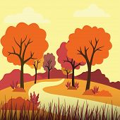 Vector Illustration Of Beautiful Golden Autumn Landscape On Red Yellow Autumn Colors Background In M poster