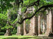 Brick Church Pillar Ruins With Spanish Moss, South Carolina