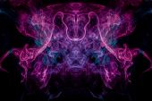 Smoke Of Pattern Pink And Blue  In The Form Of Horror Monster On A Dark Isolated Background.  Scary  poster