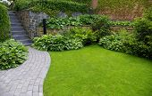picture of interlock  - Garden stone path with grass growing up between the stones - JPG