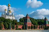 Cathedrals Of Russia. Kremlin Wall View From The Embankment. The Moscow Kremlin. Russia In The Summe poster