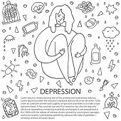 Sad And Depressed Girl Sitting. Depression Girl Doodle. Heartbreak And Sad Doodle Woman. Depression  poster