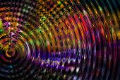 Vibrate, expand, grow, spread, or ripple abstract in multiple colors.?Red, purple and yellow ripple  poster